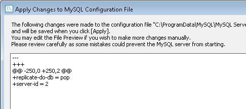 Configuring the Slave server