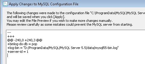 Apply Changes to MySQL Configuration file